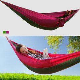 Wholesale Indoor Parachute Hammock - Wholesale- 2016 Parachute Material 2.6m X 1.3m Big Double Hammock Camping Rest Sleep Survival Hammock Parachute Cloth Outdoor Or Indoor