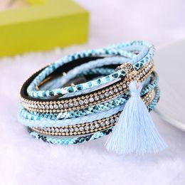 Wholesale Brazilian Jewelry - Braided Multilayer Rhinestone Leather Bracelet Femme 2016 Brazilian Beach Magnet Buckle Tassel Friendship Bracelets Boho Jewelry