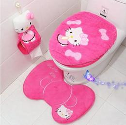 Wholesale Hand Wash Sale - Hot Sale KT bathroom set toilet set cover wc seat cover bath mat holder closestool lid cover carpets 4pcs set free shipping
