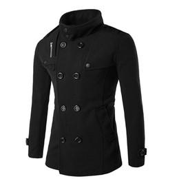 Wholesale Fashion Pea Coats - Wholesale- KLV Brand 2016 Fashion Men's Autumn Winter Coat Mid Collar Wool Blend Men Pea Coat Double Breasted Winter Overcoat ND85