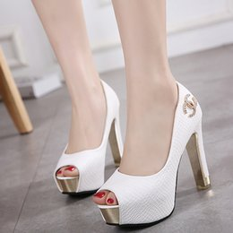 Wholesale Pumps Glitter White - White wedding shoes glitter sequins bridal shoes ankle strappy thick high heel pumps 2 colors Size 34 to 39