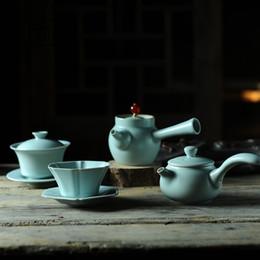 Wholesale Green Tea Films - Kung Fu tea cup size 80ml film Ru Ru Ru Master Cup bowl tea cup opening can be raised