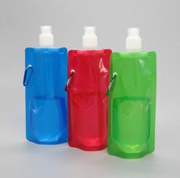 2019 garrafas de laranja Garrafa de água vem plana dobrável garrafa de água desmontável 0.48 litros Vapur anti-garrafa portátil ao ar livre esporte saco de água dobrável
