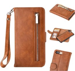 Wholesale Lanyard Pouch For Credit Cards - For iphone 7 Leather Case Premium PU Leather Folio Flip Wallet Case with Credit Card Holder Slots and Wrist Lanyard Zipper Bag
