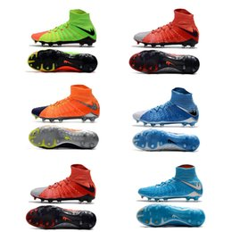 Wholesale Mens Waterproof Boots 39 - High tops Mens soccer cleats Hypervenom III DF FG football boots Lace Up waterproof outdoor soccer sports size 39-45