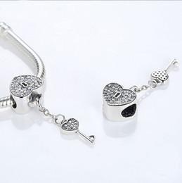 Wholesale Pandora Imitation - Authentic 925 Sterling Silver Lock Of Love Charm Beads Fit Original Pandora Bracelet Pendants Jewelry Padlock With Clear CZ