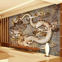 murais de parede chineses Desconto Personalizado 3D papel de parede Esculpido dragão de mármore Fotomural Estilo chinês Foto papel de parede Quarto Sala de estar Restaurante Hotel Modern Art Room Decor