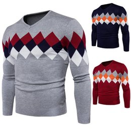Wholesale Mens Argyle Sweater Xl - New fashion mens outwear with argyle pattern V neck mens long sleeve sweater upwear hoodies for men