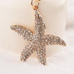 Wholesale Starfish Keyring - Cute Starfish White Crystal Charm Purse Handbag Car Key Keyring Keychain Party Wedding Birthday Gift