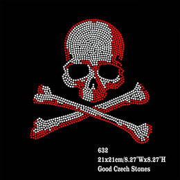 Wholesale Hotfix Red Rhinestones - 30pcs lot Hotfix Rhinestone Iron On Transfers Big Crystal Red Skull Motifs DIY For t shirt