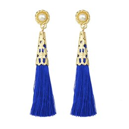 Wholesale Rope Chandeliers - Latest Fashion Gold Color Rope Tassel Long Earrings for Women