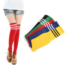 Wholesale Thin Cotton Socks Women Knee - Wholesale-Fashion Cotton Girls Women Over Knee Autumn Striped Socks 49cm Elastic Thin Long Socks 2016 New Dropship Candy Colors
