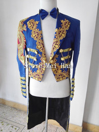 Wholesale Stage Wear Jackets - New Fashion Shining Blue Trims Tuxedo For Men Chains Jacket Embroidery Stage Performance Circus Wear Costume Outerwear Male Singer Outfit