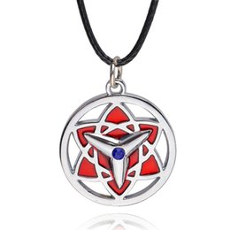 Wholesale Fire Shadow Ninja Animation Necklace With A Ninja Sassuke To Write A Round Eye Diffuser Fashion Pendant Necklace