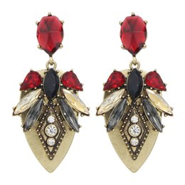 Wholesale Crystal Shape Dangle Drop Earrings - Latest Fashion Jewelry Retro Style Antique Gold Color Leaf Shape Drop Earrings with Red Crystal