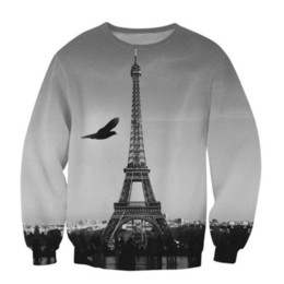 Wholesale Eiffel Tower Sweatshirts - Wholesale-Raisevern New Harajuku 3D Sweatshirt Hoodie Suits Eiffel Tower Printing Sweatshirts Tracksuits Casual Pullovers For Men Women