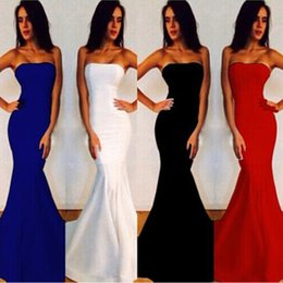 Wholesale Sexy Red Women Dress - 2017 New Sexy Women Strapless Wrapped Long Maxi Dress Formal Wedding Evening Party Gown Bridesmade Prom Mermaid Trendy White Dresses