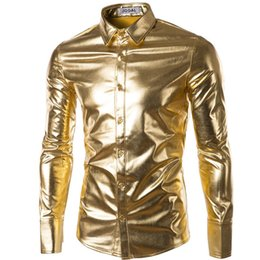 Wholesale Men Down Dress Coat - Wholesale- Mens Trend Night Club Coated Metallic Halloween Gold Silver Button Down Shirts Stylish Shiny Long Sleeves Dress Shirts For Men