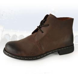 Wholesale Vintage Men Cowboy Boots - Fashion Classic Cowhide Man's Boots Vintage Genuine Leather Cowboy Boots outdoor Fashion Shoes Men, EU38-44