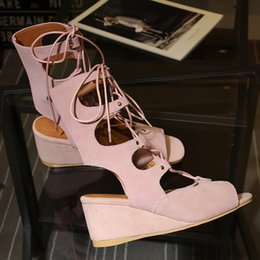 Wholesale Lace Up Buckle Strap Boots - Arden Furtado 2017summer woman Gladiator Half Boots wedges genuine suede leather ankle strap open toe fashion sandals casual shoes for women