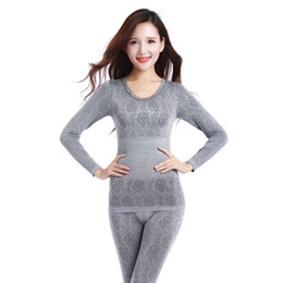 Wholesale Antibacterial Underwear Women - Wholesale- 2016 Women Thermal Underwears Slim Body Shaped Winter Warm Long Johns Ladies Seamless Antibacterial Underwear Clothes+trousers