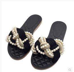 Wholesale Hotel Diamonds - 2017 Summer New Arrival Top Quality Luxury Famous Brand Trend Classic Elegant Ladies Diamond-shaped pearl Beach Flat Slippers