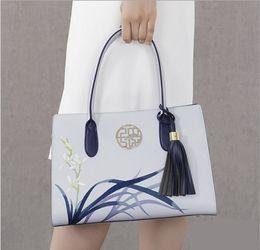 Wholesale Wristlet Purse Designer - Pmsix 2017 New Designer Women Handbags Split Leather Embroidery Tassel Purses And Handbags Light Blue Ladies Tote Bag P120053