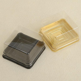 Wholesale Wholesale Party Containers - 100pcs=50sets 6.8*6.8*4 cm Mini Size Clear Plastic Cake boxes Muffin Container Food Gift Packaging Wedding Supplies