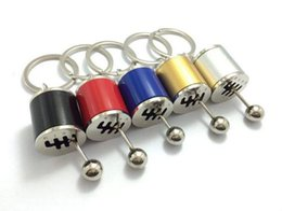 Wholesale Metal Gear Model - Six speed 6MT Manual Transmission stick gear Shift knob rod Keychain Auto Part Model Automotive Keyring Key Chain Ring Keyfob