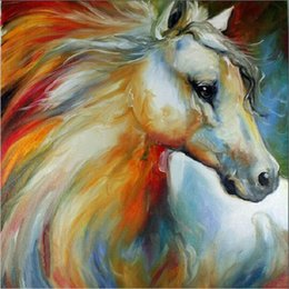 Wholesale Abstract Horse - Free Shipping New Hand Painted Horse Oil Painting Abstract White Horse Canvas Painted For Wall Decoration
