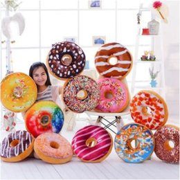 Wholesale Fabric Decorative - 12 Styles 40cm Doughnut Pillow Shaped Ring Plush Soft Cushion Colorful Donut Pizza Cushion Decorative Pillow CCA7256 30pcs