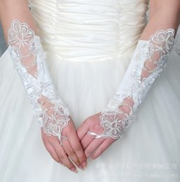 Wholesale Events Dresses Free Shipping - Bride Wedding Dress Gloves To Pearl White Bridal Gloves Fingerless On Satin Seam Wedding Party Events Accessories Free Shipping