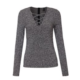 Wholesale Low Cut V Neck Tops - Wholesale-Women sexy v neck knitted sweater bandage Plus size pullover lace up Elastic low cut cross bodycon long sleeve casual tops SW867