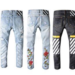 Wholesale Destroy Harem - robin jeans for men off white embroidery jeans Ripped Denim Knee Hole Zipper mens harem pants Destroyed Torn joggers Biker