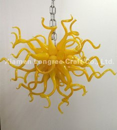Wholesale Designer Contemporary Pendant Lights - Contemporary Type and Energy Saving Light Source Chandelier for Home Decor Small and Cheap Price Yellow Color Designer Chandelier Lighting