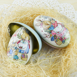 Wholesale Wedding Box Big Size - Big Size Easter Day Candy Packaging Tin Trumpet Egg Style Candy Box Wedding Supplies Household Organizer Container