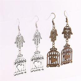 Wholesale Bird Cage Pendant Charm - 12pcs lot Metal Alloy Zinc Hamsa Hand Connector Bird Cage Pendant Charm Drop Earing Diy Jewelry Making C0745