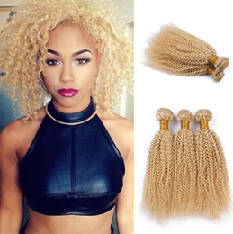 Wholesale 22 Platinum Blonde Extensions - 9A Brazilian Human Hair Kinky Curly Color #613 3 pcs Platinum Blonde Deep Curly Hair Bundles Hair Extensions 3Pcs