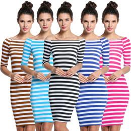 Wholesale Hot Casual Sex - Fashion Striped Women Dresses Half Sleeve Party Club Dress Bohemian Elastic Slim Fit Vestidos Sex Hot Girl Dresses for Women WD57 WR