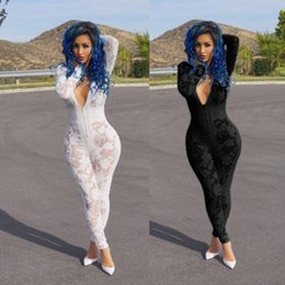 Wholesale Wholesale Exotic Wear - 2017 Hot Sale Exotic designer v-neck lace rompers sexy club wear ladies long rompers jumosuits K8114