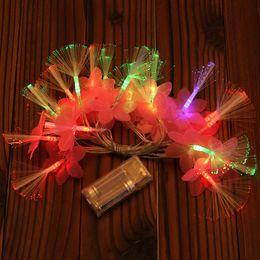 Argentina 3 m flores de colores de la caja de batería 20 de luces de fibra óptica luces de Navidad envío gratis supplier led fiber flower Suministro