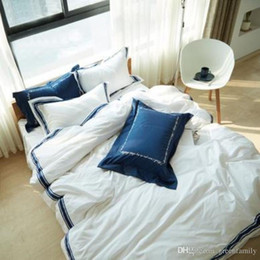 Wholesale White Bedding King Applique - Ins Rococo Style 100% Cotton Brief Bedding Set Blue White King Size Queen Size Bed Set Duvet Cover Bed Sheet