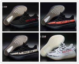 Wholesale Children Winter Ski - Kids Shoes Kanye West Season 3 SPLY 350 Boost V2 Sneakers Children Shoes Baby Boys Girls Athletic Shoes Black Red All White Shoe eur 26-35