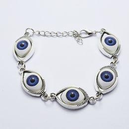 Wholesale Bracelet Stainless Steel Evil Eye - Fashion Women Bracelets & Bangles Gold&silver Plated Chain Bracelet Evil Eye Punk Bracelet Jewelry Cheap jewelry
