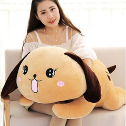Wholesale large stuffed toy dogs - 2017 latest 100cm Large Cute Cartoon Lying Dog Plush Doll 39'' Big Stuffed Animal Dogs Toy Pillow Gift for Children