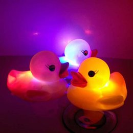 Wholesale Gadgets Chirstmas - New Baby Bath Toy Yellow Rubber Duck Toy Fun Funny Gadgets Parent Child Games Multicolor LED Duck Bath Bathroom Toy For Children