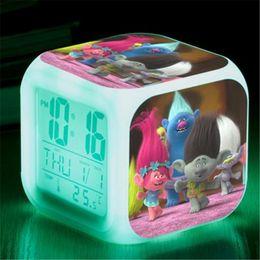 Wholesale Digital Clock Lamp - DHL Led Alarm Clock Trolls Glowing Digital Clock Cartoon Movie LED 7Colors Change Digital Alarm Baby Children Night Gift Lamp Table Clock