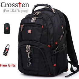 Wholesale Business Laptop Backpacks For Men - Wholesale- Top quality Swiss Multifunctional laptop bag Backpack for 15.6 inch laptop Schoolbag Travel Bags 8112