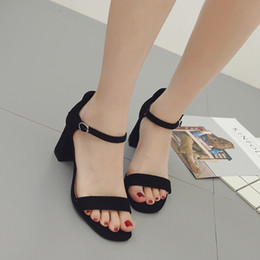 Wholesale Sandals 7cm Heel - High heel sandals for women famous brand two colors hot hollow chunky 7cm heel leisure soft summer shoes for lady YonDream-353