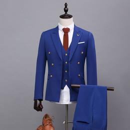 Wholesale Mens Blue Dress Pants - Wholesale- 2017 Men's Royal Blue Suits With Pants Formal Dress Mens Stage Wear Clothing Men Slim Groom Tuxedos Shiny Wedding Suit 3 Piece